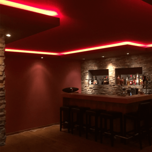 RGBW led strip in de woonkamer
